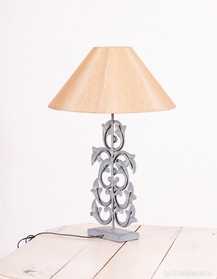 Antigüedades: Lámpara De Sobremesa Vintage De Metal - Foto 3 - 150073790