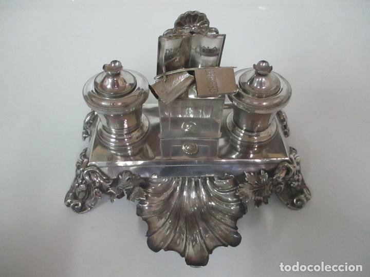 Antigüedades: Preciosa Escribanía Antigua - Pieza de Orfebreria - Plata de Ley - Notario Real -28 de Mayo del 1862 - Foto 3 - 150077978