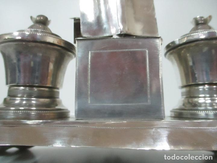 Antigüedades: Preciosa Escribanía Antigua - Pieza de Orfebreria - Plata de Ley - Notario Real -28 de Mayo del 1862 - Foto 26 - 150077978