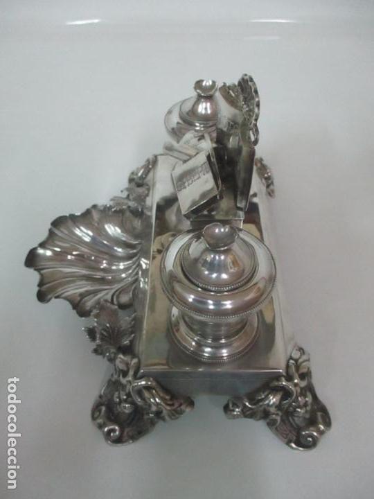 Antigüedades: Preciosa Escribanía Antigua - Pieza de Orfebreria - Plata de Ley - Notario Real -28 de Mayo del 1862 - Foto 31 - 150077978