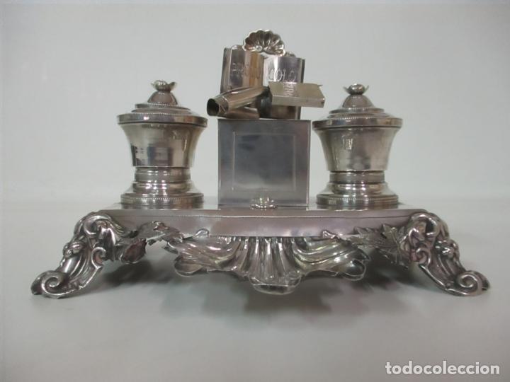 Antigüedades: Preciosa Escribanía Antigua - Pieza de Orfebreria - Plata de Ley - Notario Real -28 de Mayo del 1862 - Foto 35 - 150077978