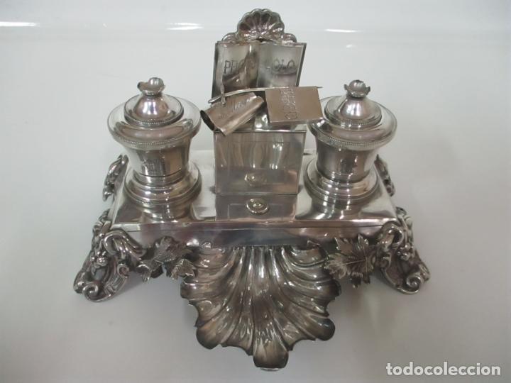 Antigüedades: Preciosa Escribanía Antigua - Pieza de Orfebreria - Plata de Ley - Notario Real -28 de Mayo del 1862 - Foto 37 - 150077978