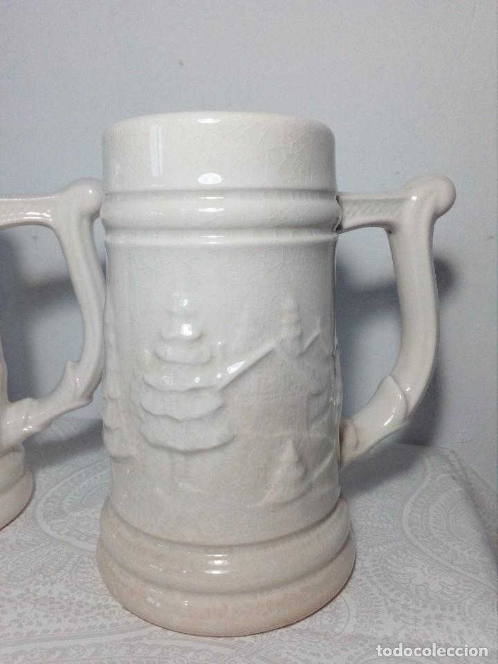 Antigüedades: 3 JARRAS DECORATIVAS DE CERVEZA DE CERÁMICA (PICKMAN S.A - LA CARTUJA - SEVILLA - Foto 4 - 150079938