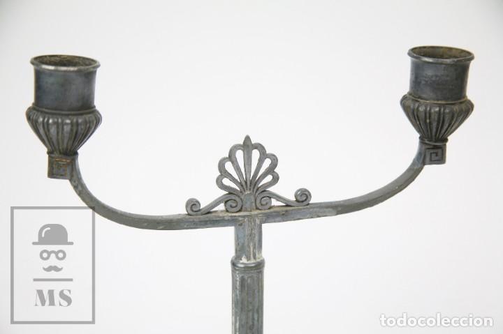 Antigüedades: Pareja de Antiguos Candelabros Art Nouveau de Estaño o Peltre - Orivit, ref 2913 - Alemania, c. 1900 - Foto 8 - 150081950
