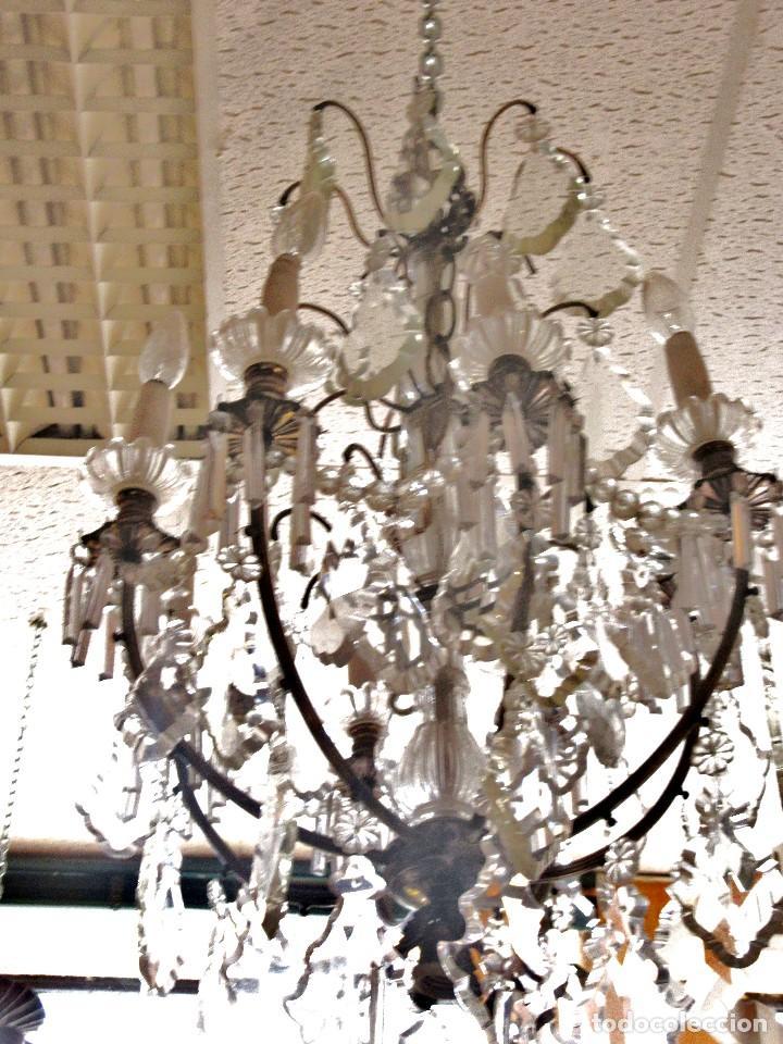 LÁMPARA PLATEADA DE CRISTAL DE ROCA (Antigüedades - Iluminación - Lámparas Antiguas)