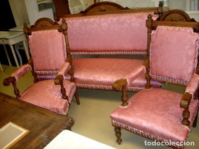 Antigüedades: Juego de sofa y dos sillones isabelinos - Foto 2 - 150098882