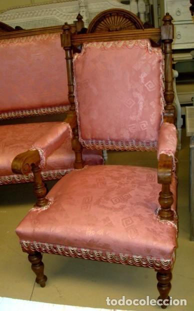 Antigüedades: Juego de sofa y dos sillones isabelinos - Foto 3 - 150098882