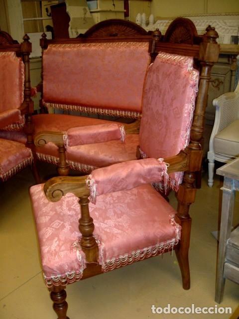 Antigüedades: Juego de sofa y dos sillones isabelinos - Foto 4 - 150098882