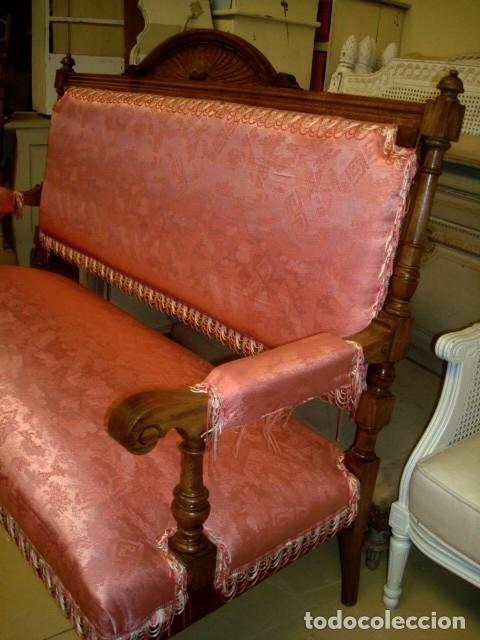Antigüedades: Juego de sofa y dos sillones isabelinos - Foto 6 - 150098882