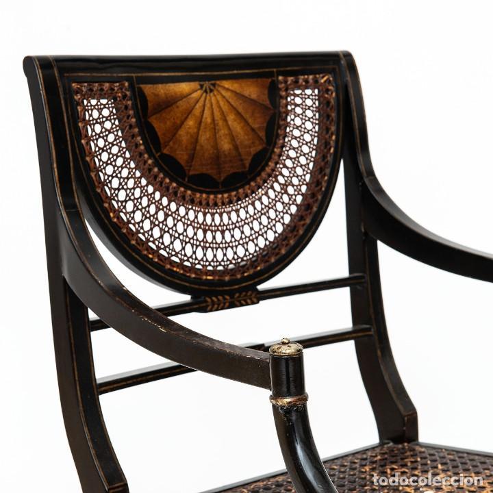 Antigüedades: Antigua Silla de rejilla lacada con dibujo policromado y bonita patina 85*50*54cm.Envio 30€ - Foto 2 - 150102922