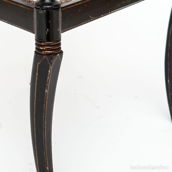 Antigüedades: Antigua Silla de rejilla lacada con dibujo policromado y bonita patina 85*50*54cm.Envio 30€ - Foto 3 - 150102922