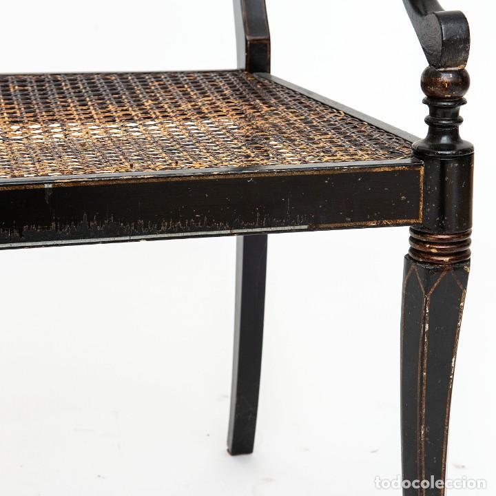 Antigüedades: Antigua Silla de rejilla lacada con dibujo policromado y bonita patina 85*50*54cm.Envio 30€ - Foto 4 - 150102922