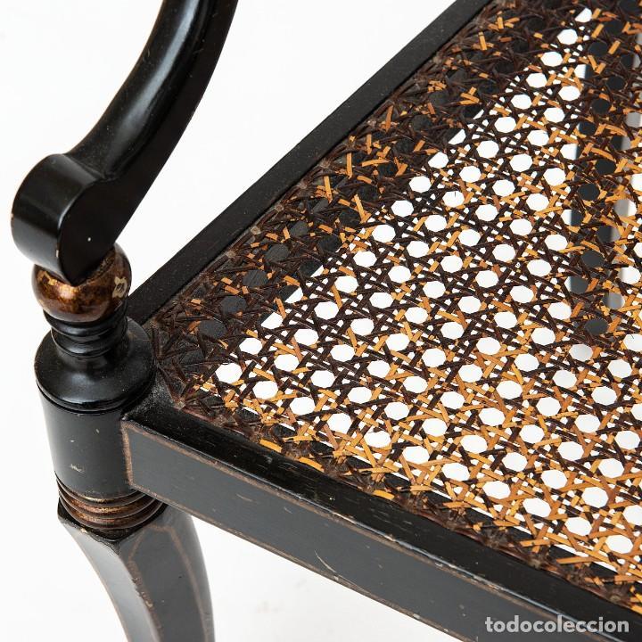 Antigüedades: Antigua Silla de rejilla lacada con dibujo policromado y bonita patina 85*50*54cm.Envio 30€ - Foto 5 - 150102922