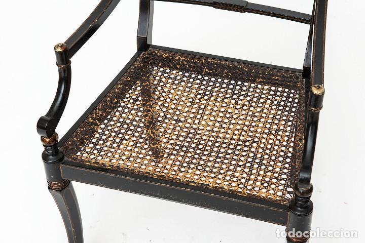 Antigüedades: Antigua Silla de rejilla lacada con dibujo policromado y bonita patina 85*50*54cm.Envio 30€ - Foto 7 - 150102922