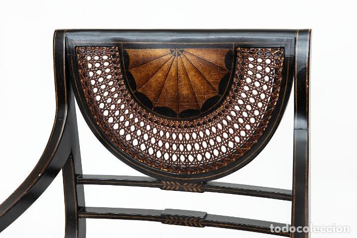Antigüedades: Antigua Silla de rejilla lacada con dibujo policromado y bonita patina 85*50*54cm.Envio 30€ - Foto 8 - 150102922