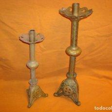 Antigüedades: CANDELABROS DE IGLESIA EN BRONCE . Lote 150217870