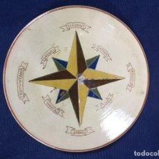 Antigüedades: PLATO HONDO CERÁMICA ROSA DE LOS VIENTOS TRAMUNTANA MIGJORN LEVANTE PONIENTE MALLORCA MALLORQUÍN 28. Lote 150221742