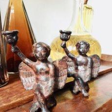 Antigüedades: SET DOS CANDELABROS ÁNGELES QUERUBINES PLOMO. Lote 150227122