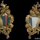 Antigüedades: ANTIGUA PAREJA DE ESPEJOS, CORNUCOPIAS DE ORO FINO 24 KILATES DE MADERA. SIGLO XIX. 83X50 CM.. Lote 149406498