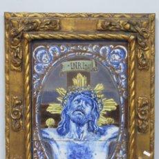 Antigüedades: MAGNIFICO PANEL DE AZULEJOS DEL SMO. CRISTO DE LA AGONIA. CRISTO DE LIMPIAS. FINALES SIGLO XIX. Lote 150242802