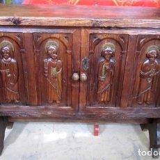Antigüedades: CONSOLA, TAQUILLON, APARADOR RUSTICO ANTIGUO TALLADO . Lote 150253474