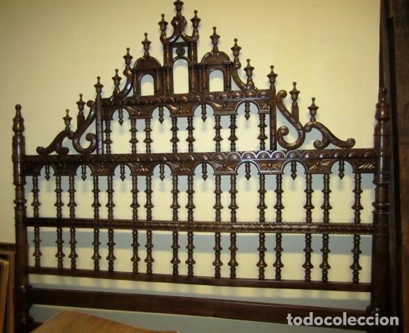 Antigüedades: Cabecero rustico antiguo torneado - Foto 3 - 150257370