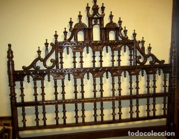 Antigüedades: Cabecero rustico antiguo torneado - Foto 5 - 150257370