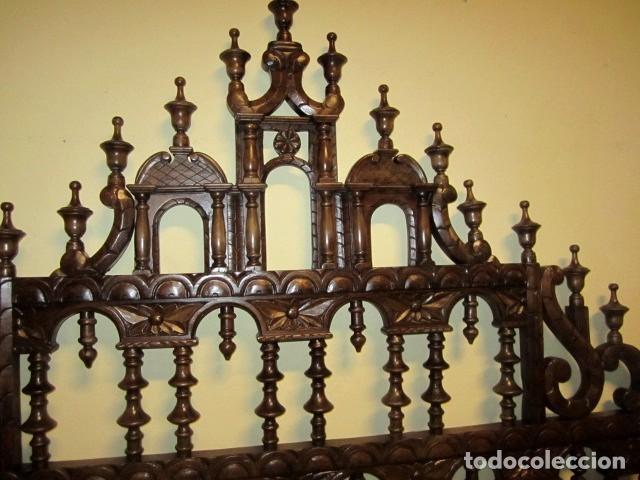 Antigüedades: Cabecero rustico antiguo torneado - Foto 8 - 150257370