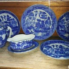 Antigüedades: JUEGO BLUE WILLOW (JAPÓN)DE JUGAR - 6 PIEZAS. Lote 150268286