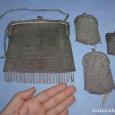 Antigüedades: * LOTE 4 BOLSO DE PLATA DE MALLA ANTIGUO, ORIGINALES. UNO MUY GRANDE Y PRECIOSO. ZX. Lote 150293254