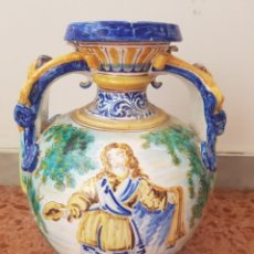 Antigüedades: JARRÓN CERÁMICA DE TALAVERA FIRMA NIVEIRO. Lote 140501842