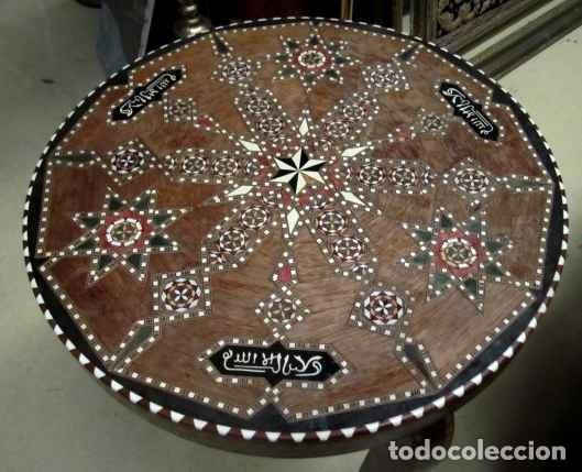 Antigüedades: Velador estilo arabe con taracea, marqueteria - Foto 2 - 150340742