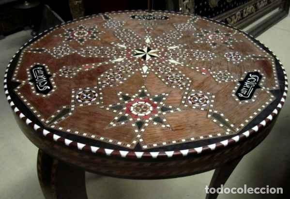 Antigüedades: Velador estilo arabe con taracea, marqueteria - Foto 4 - 150340742