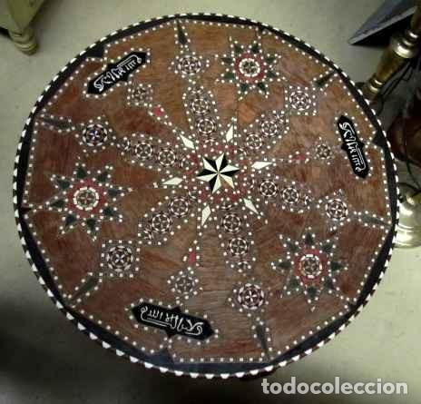 Antigüedades: Velador estilo arabe con taracea, marqueteria - Foto 5 - 150340742