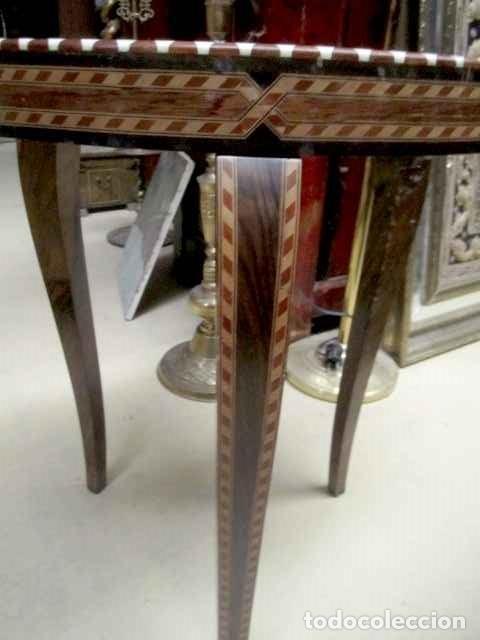 Antigüedades: Velador estilo arabe con taracea, marqueteria - Foto 6 - 150340742