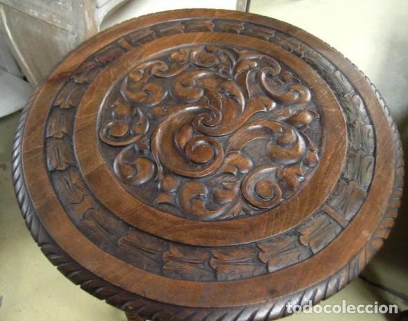 Antigüedades: Mesa auxiliar, velador antiguo, estilo renacimiento español - Foto 2 - 150341194