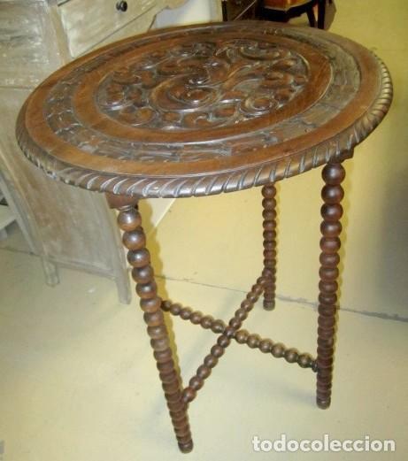 Antigüedades: Mesa auxiliar, velador antiguo, estilo renacimiento español - Foto 3 - 150341194