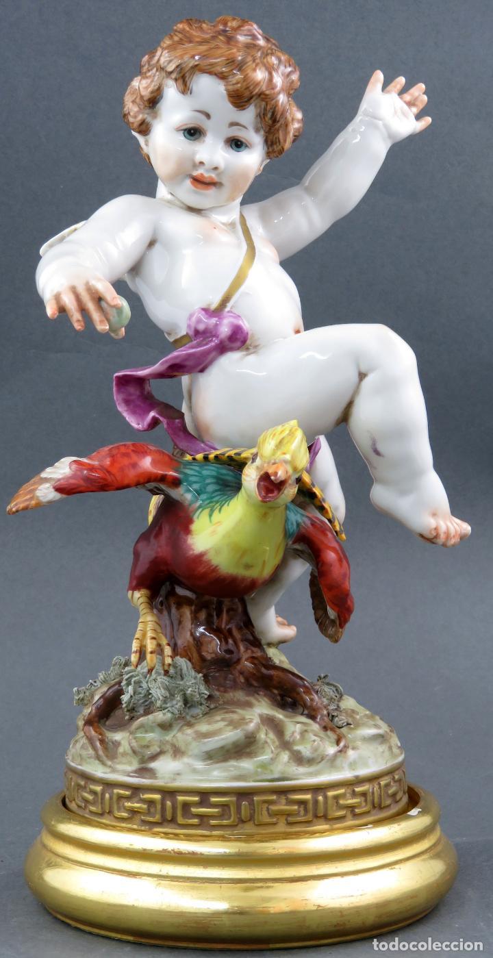 ANGEL CON FAISAN EN PORCELANA DE ALGORA SERIE ANGELES Y ANIMALES PRIMERA MITAD DEL SIGLO XX (Antigüedades - Porcelanas y Cerámicas - Algora)