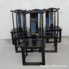 Antigüedades: SILLAS CHINAS LACADAS EN NEGRO, SEIS UNIDADES. Lote 150374502
