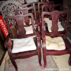 Antigüedades: 8 SILLONES CHINOS ANTIGUOS, SON DE MADERA FORRADA DE TELA LACADA, POLICROMADA, BONITA PATINA Y CRAQU. Lote 150375650