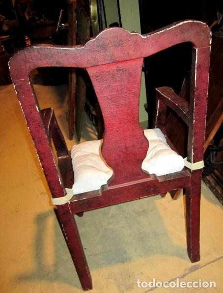 Antigüedades: 8 Sillones chinos antiguos, son de madera forrada de tela lacada, policromada, bonita patina y craqu - Foto 6 - 150375650