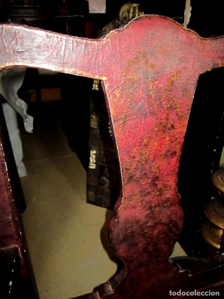 Antigüedades: 8 Sillones chinos antiguos, son de madera forrada de tela lacada, policromada, bonita patina y craqu - Foto 9 - 150375650