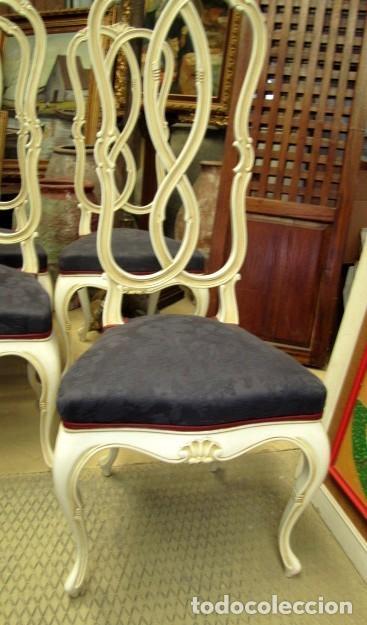 Antigüedades: 4 Sillas vintage con repaldo en talla de lazo, policromado en blanco - Foto 2 - 150378502