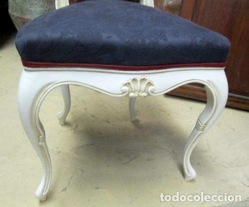 Antigüedades: 4 Sillas vintage con repaldo en talla de lazo, policromado en blanco - Foto 3 - 150378502