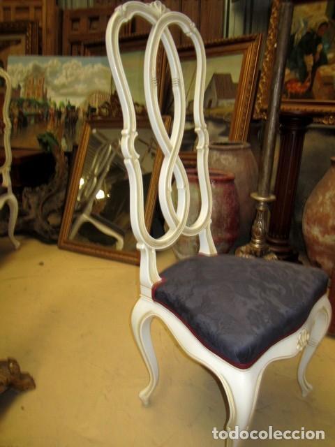 Antigüedades: 4 Sillas vintage con repaldo en talla de lazo, policromado en blanco - Foto 5 - 150378502