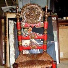 Antigüedades: SILLA MALLORQUINA ANTIGUA POLICROMADA SXIX, PINTURA ORIGINAL . Lote 150379226