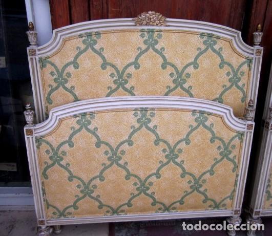 Antigüedades: Pareja de camas de 90 estilo LXV con mesilla de noche - Foto 3 - 150392822