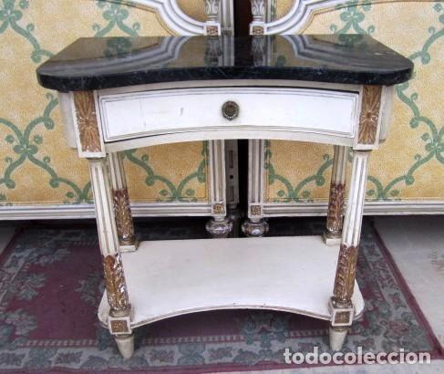 Antigüedades: Pareja de camas de 90 estilo LXV con mesilla de noche - Foto 6 - 150392822