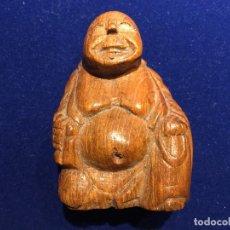 Antigüedades: FIGURA DE BUDA EN MADERA. Lote 150417002