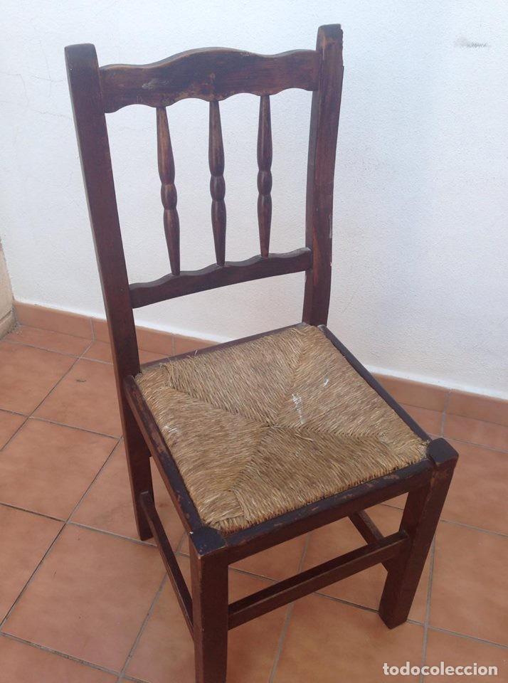 antigua silla tipo castellana de madera y enea - Kaufen Antike ...